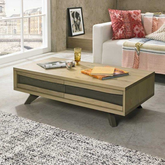 Cadell Aged Oak Coffee Table w/ Dr.