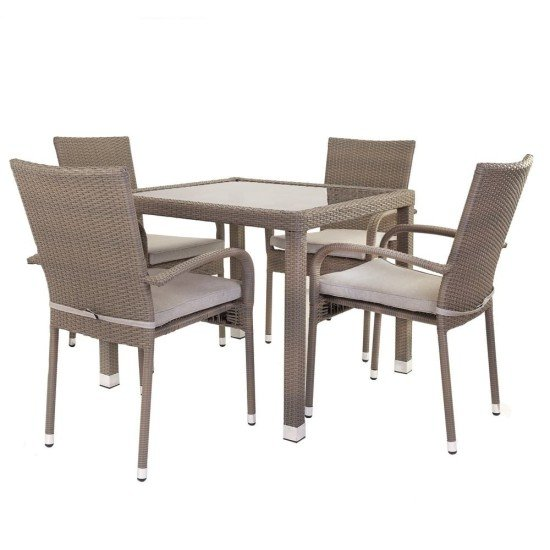 Mona Rattan Square Dining Set