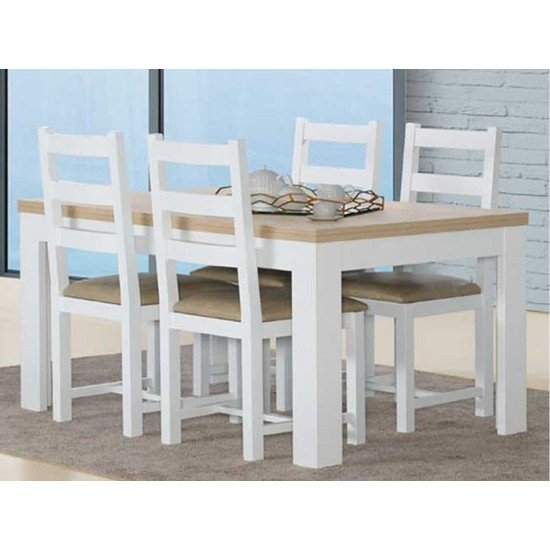 Florence Oak/White Dining Table