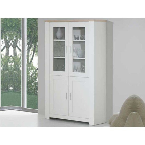 Florence Oak/White 4 Door Display Cabinet